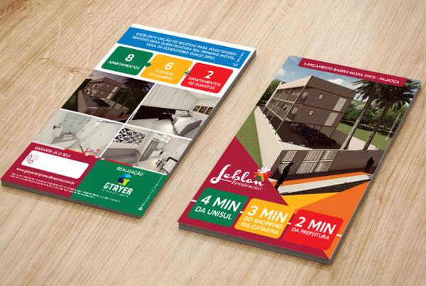 Folder de divulgação de empreendimento imobiliário